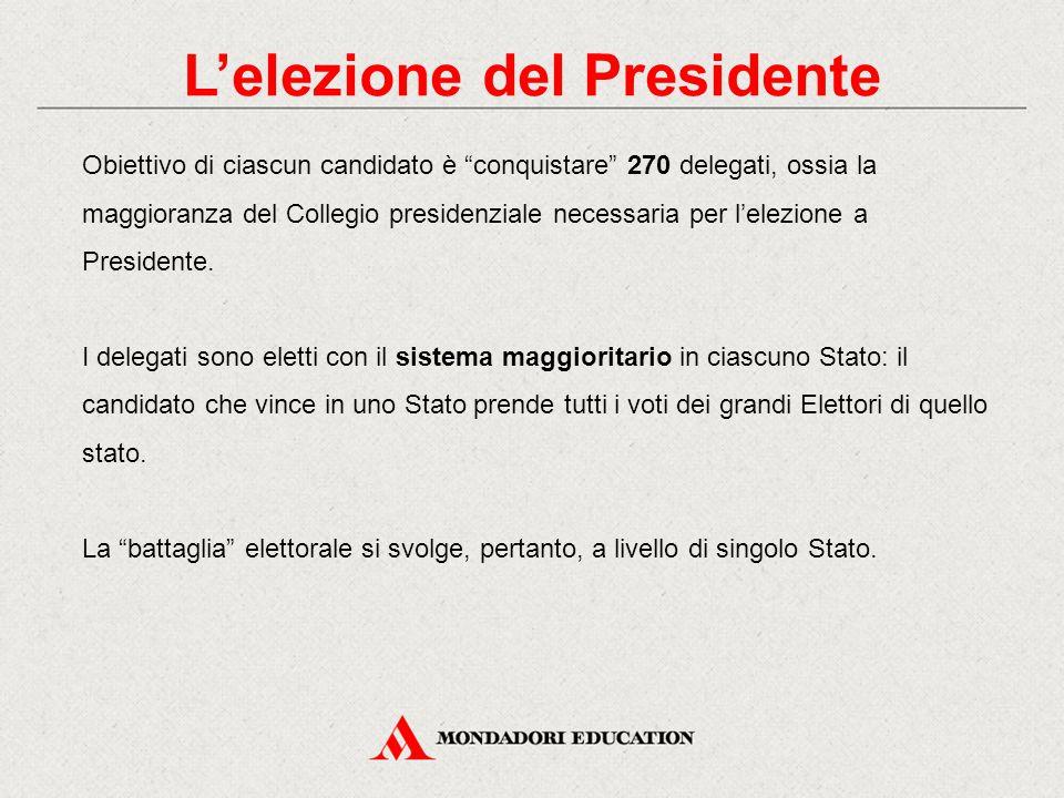 L'elezione del Presidente Il Presidente degli Stati Uniti non è eletto direttamente dal popolo in quanto in ciascun passaggio, dalle Primarie alla votazione di novembre, i votanti sono chiamati a scegliere dei delegati.