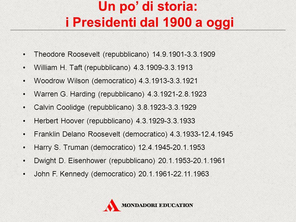 Un po' di storia: i Presidenti dal 1900 a oggi Theodore Roosevelt (repubblicano) 14.9.1901-3.3.1909 William H. Taft (repubblicano) 4.3.1909-3.3.1913 W