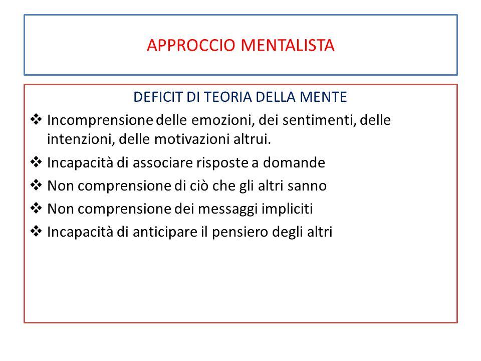 APPROCCIO MENTALISTA DEFICIT DI TEORIA DELLA MENTE  Incomprensione delle emozioni, dei sentimenti, delle intenzioni, delle motivazioni altrui.  Inca