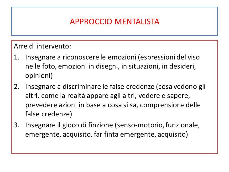 APPROCCIO MENTALISTA Arre di intervento: 1.Insegnare a riconoscere le emozioni (espressioni del viso nelle foto, emozioni in disegni, in situazioni, i