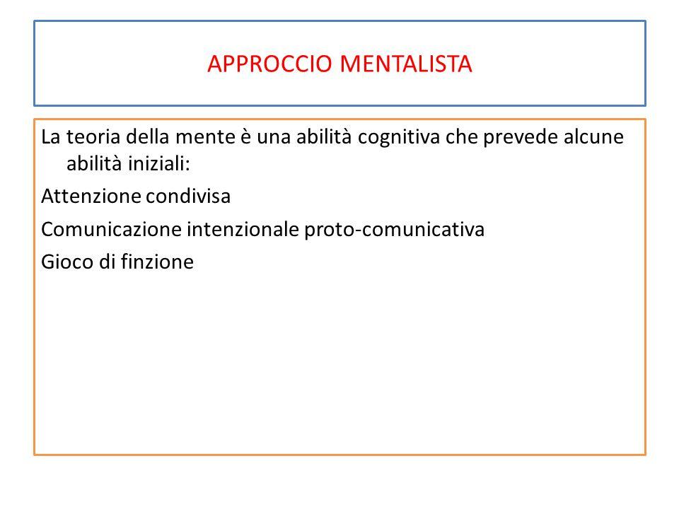 APPROCCIO MENTALISTA La teoria della mente è una abilità cognitiva che prevede alcune abilità iniziali: Attenzione condivisa Comunicazione intenzional