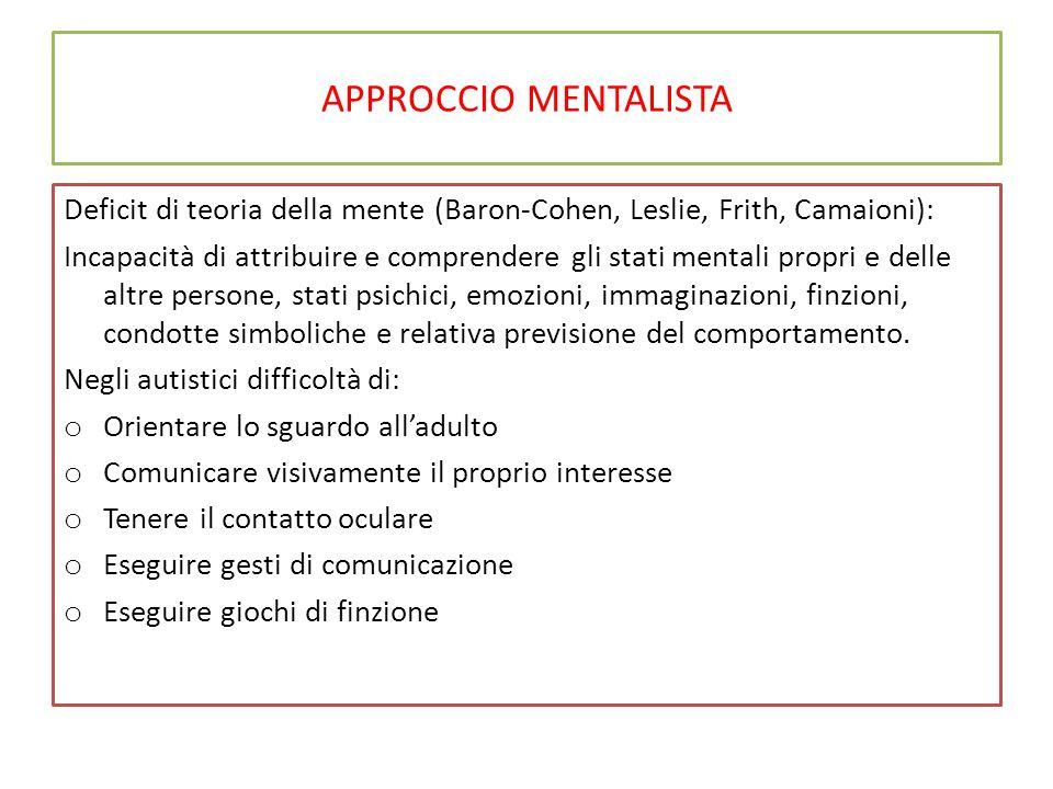APPROCCIO MENTALISTA Deficit di teoria della mente (Baron-Cohen, Leslie, Frith, Camaioni): Incapacità di attribuire e comprendere gli stati mentali pr
