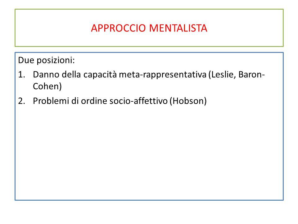 APPROCCIO MENTALISTA Due posizioni: 1.Danno della capacità meta-rappresentativa (Leslie, Baron- Cohen) 2.Problemi di ordine socio-affettivo (Hobson)