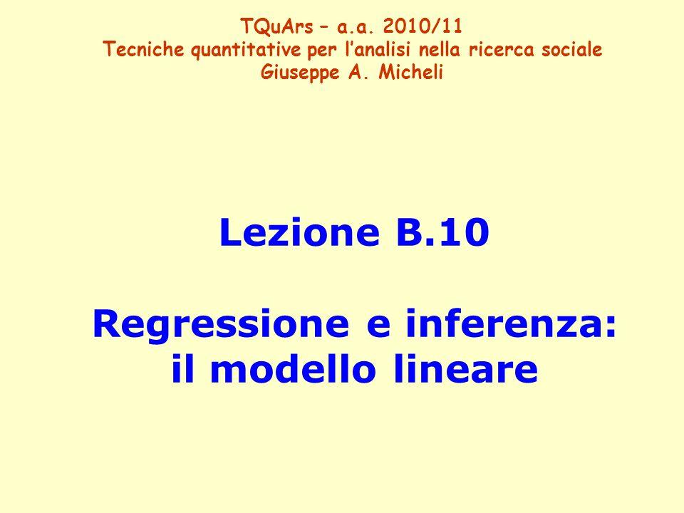 Lezione B.10 Regressione e inferenza: il modello lineare TQuArs – a.a. 2010/11 Tecniche quantitative per l'analisi nella ricerca sociale Giuseppe A. M