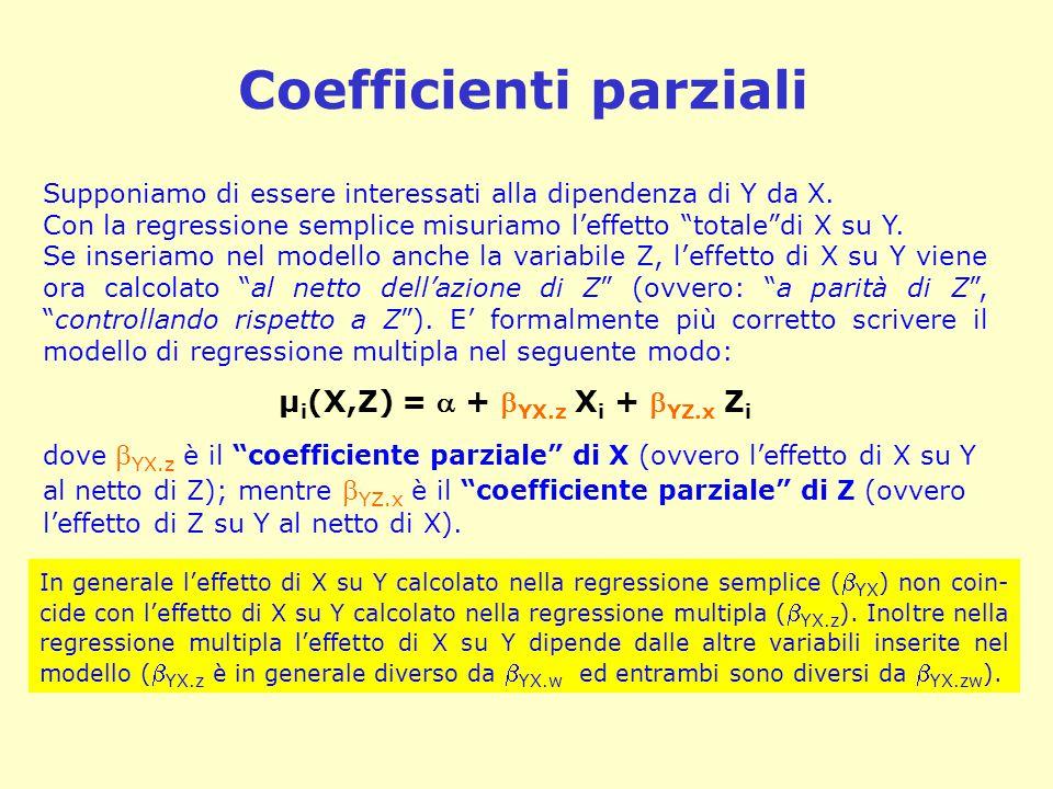 """Coefficienti parziali Supponiamo di essere interessati alla dipendenza di Y da X. Con la regressione semplice misuriamo l'effetto """"totale""""di X su Y. S"""
