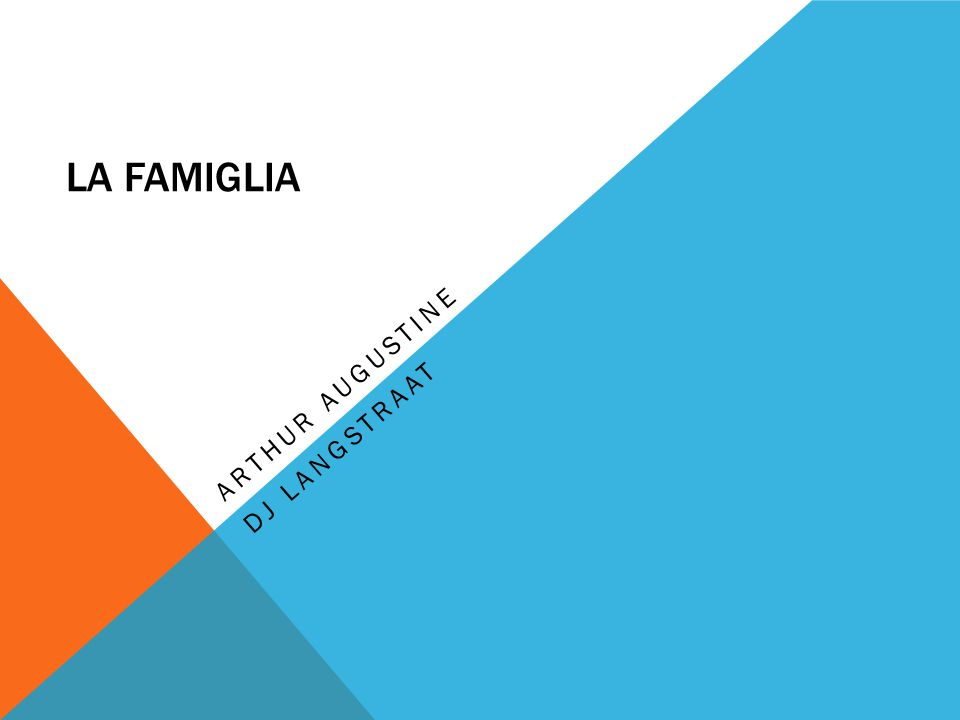 LA FAMIGLIA ARTHUR AUGUSTINE DJ LANGSTRAAT