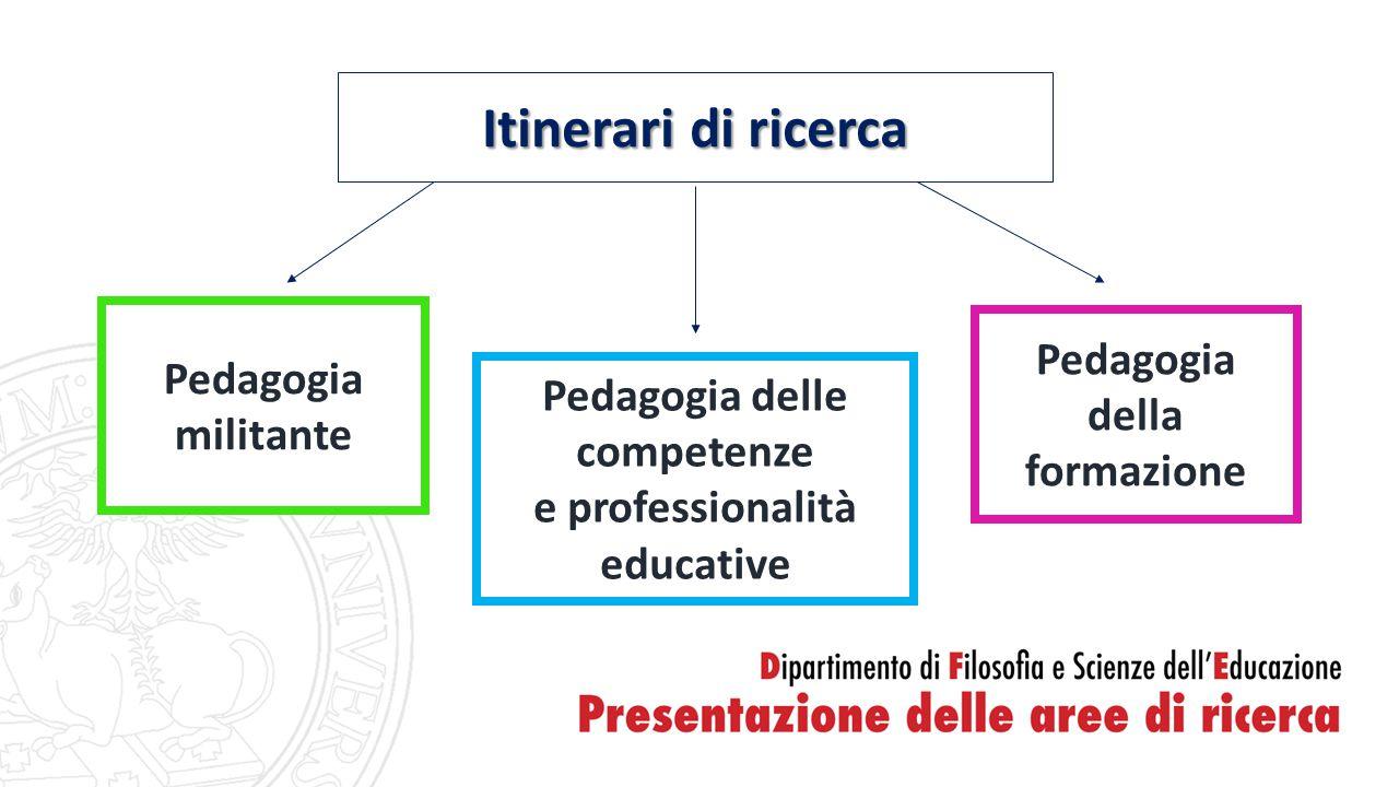 Pedagogia militante Pedagogia delle competenze e professionalità educative Pedagogia della formazione Itinerari di ricerca