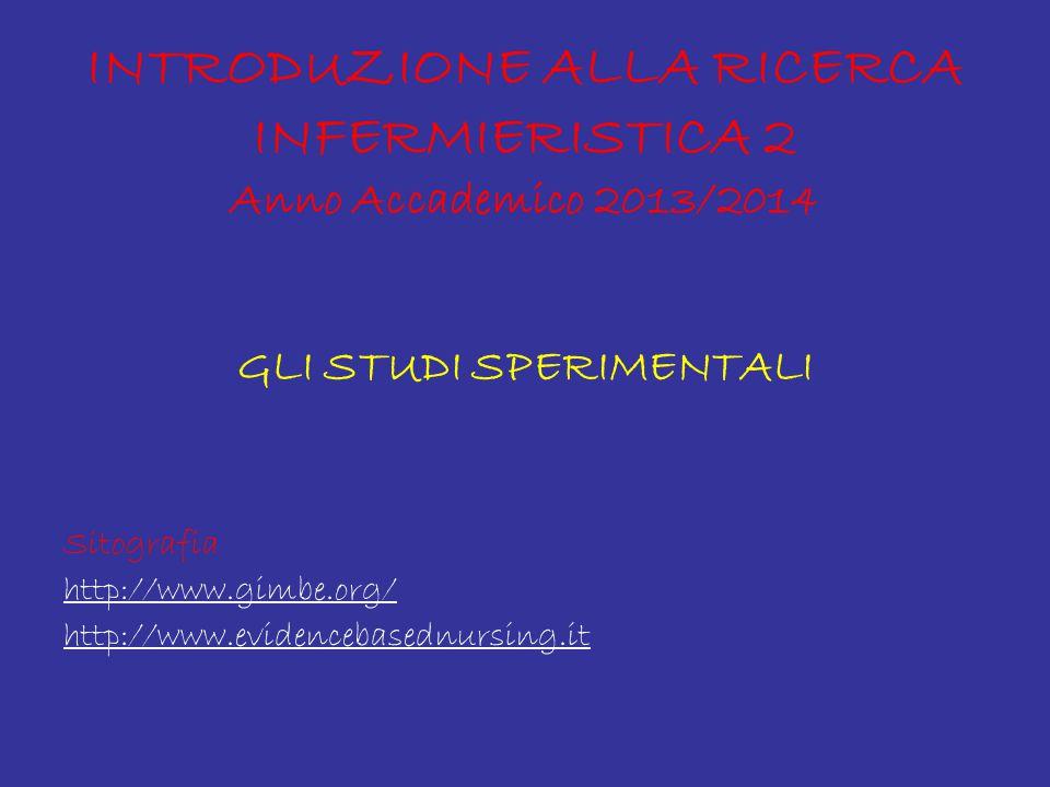 INTRODUZIONE ALLA RICERCA INFERMIERISTICA 2 Anno Accademico 2013/2014 GLI STUDI SPERIMENTALI Sitografia http://www.gimbe.org/ http://www.evidencebasednursing.it