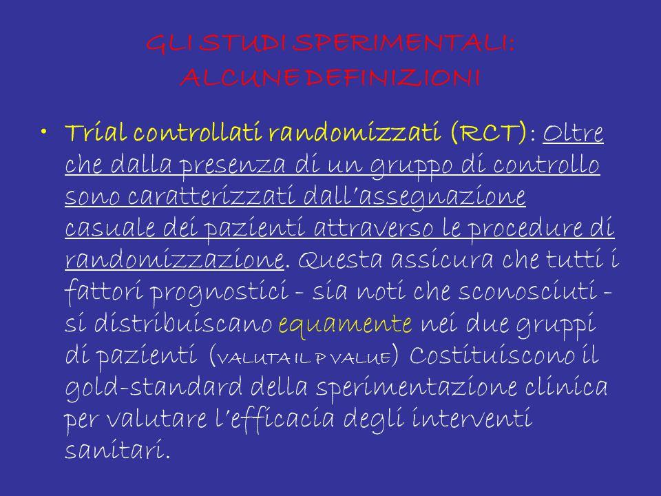 GLI STUDI SPERIMENTALI: ALCUNE DEFINIZIONI Trial controllati randomizzati (RCT): Oltre che dalla presenza di un gruppo di controllo sono caratterizzati dall'assegnazione casuale dei pazienti attraverso le procedure di randomizzazione.