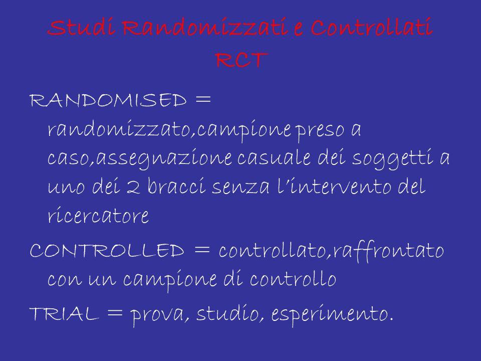 Studi Randomizzati e Controllati RCT RANDOMISED = randomizzato,campione preso a caso,assegnazione casuale dei soggetti a uno dei 2 bracci senza l'intervento del ricercatore CONTROLLED = controllato,raffrontato con un campione di controllo TRIAL = prova, studio, esperimento.