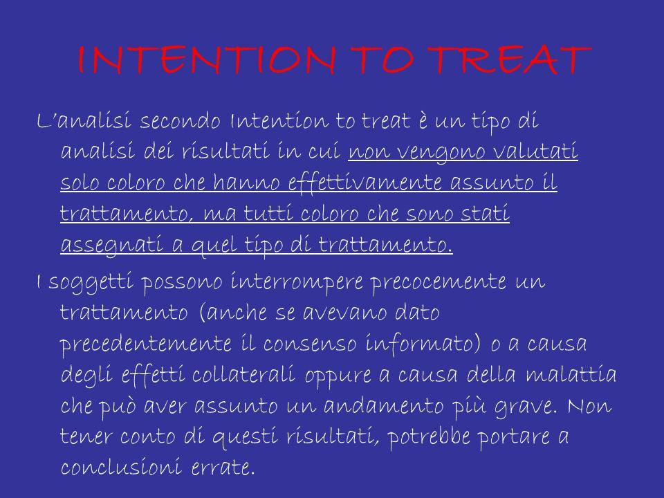 INTENTION TO TREAT L'analisi secondo Intention to treat è un tipo di analisi dei risultati in cui non vengono valutati solo coloro che hanno effettivamente assunto il trattamento, ma tutti coloro che sono stati assegnati a quel tipo di trattamento.