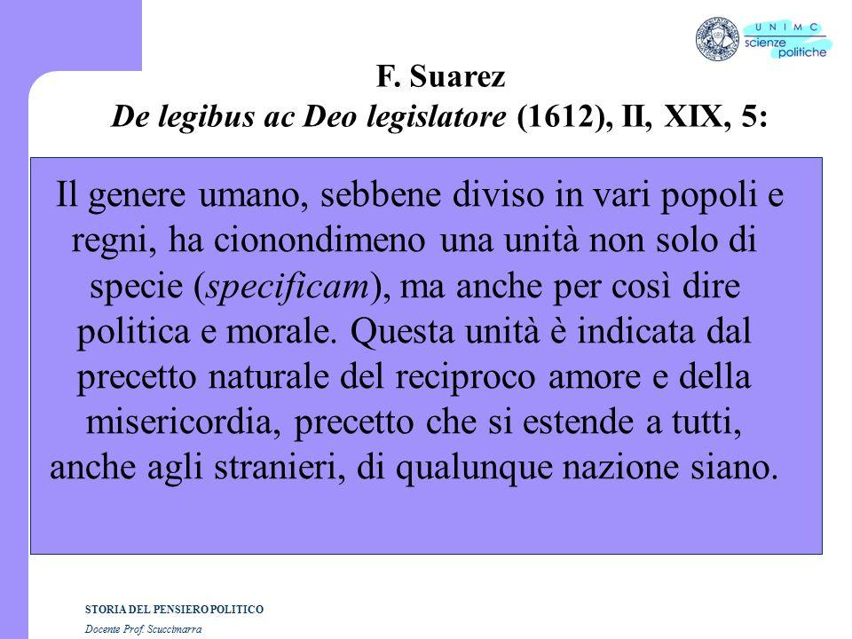 STORIA DEL PENSIERO POLITICO Docente Prof. Scuccimarra F.