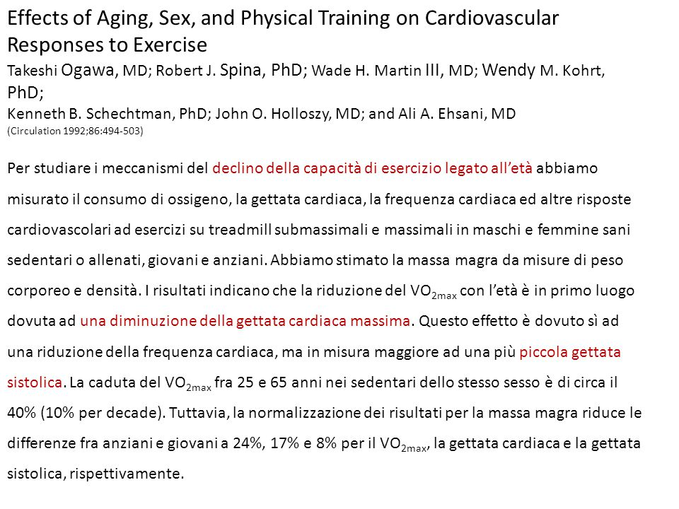 Effects of Aging, Sex, and Physical Training on Cardiovascular Responses to Exercise Takeshi Ogawa, MD; Robert J. Spina, PhD; Wade H. Martin III, MD;