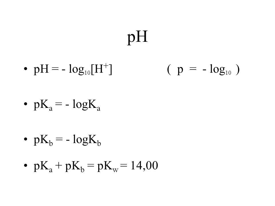 pH pH = - log 10 [H + ] ( p = - log 10 ) pK a = - logK a pK b = - logK b pK a + pK b = pK w = 14,00