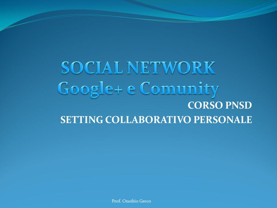 CORSO PNSD SETTING COLLABORATIVO PERSONALE Prof. Onofrio Greco