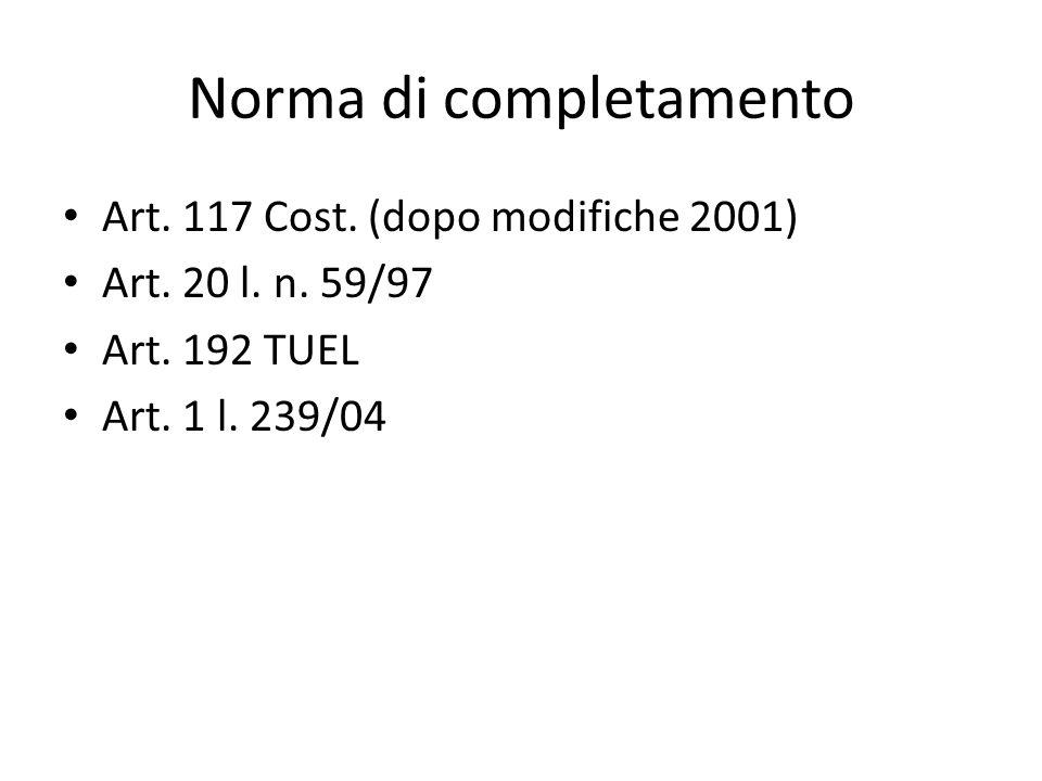 Norma di completamento Art. 117 Cost. (dopo modifiche 2001) Art. 20 l. n. 59/97 Art. 192 TUEL Art. 1 l. 239/04