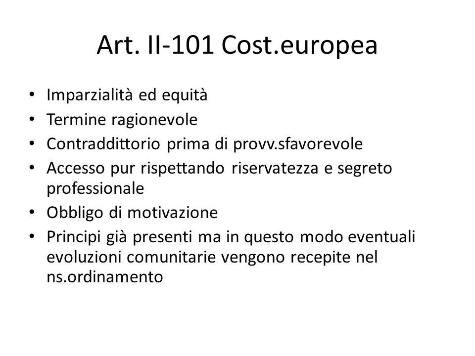 Art. II-101 Cost.europea Imparzialità ed equità Termine ragionevole Contraddittorio prima di provv.sfavorevole Accesso pur rispettando riservatezza e