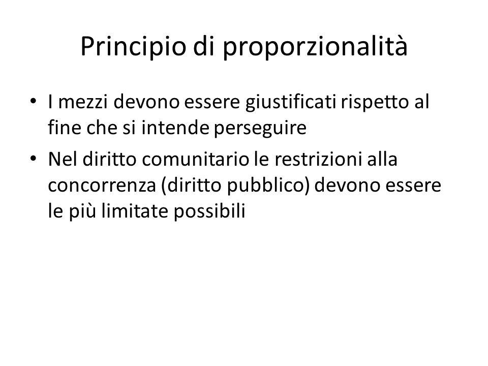 Principio di proporzionalità I mezzi devono essere giustificati rispetto al fine che si intende perseguire Nel diritto comunitario le restrizioni alla