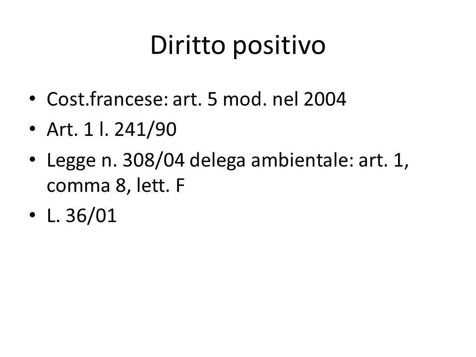 Diritto positivo Cost.francese: art. 5 mod. nel 2004 Art. 1 l. 241/90 Legge n. 308/04 delega ambientale: art. 1, comma 8, lett. F L. 36/01