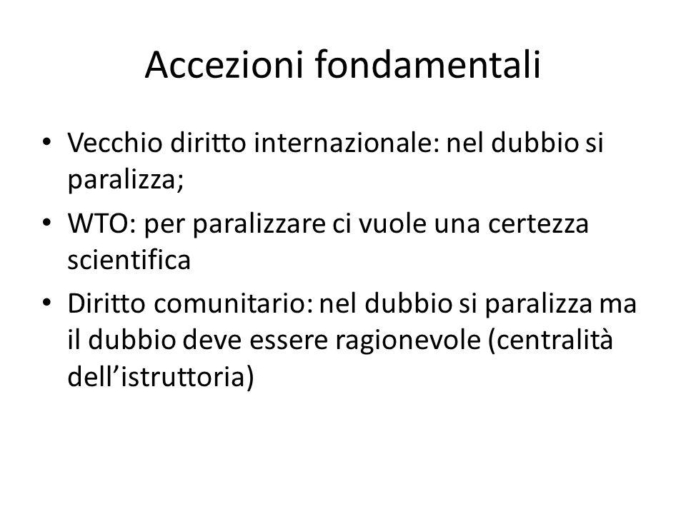 Accezioni fondamentali Vecchio diritto internazionale: nel dubbio si paralizza; WTO: per paralizzare ci vuole una certezza scientifica Diritto comunit