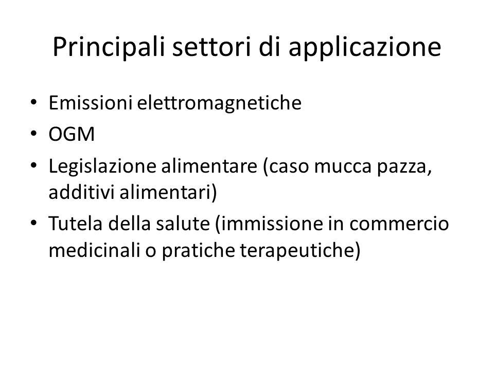Principali settori di applicazione Emissioni elettromagnetiche OGM Legislazione alimentare (caso mucca pazza, additivi alimentari) Tutela della salute