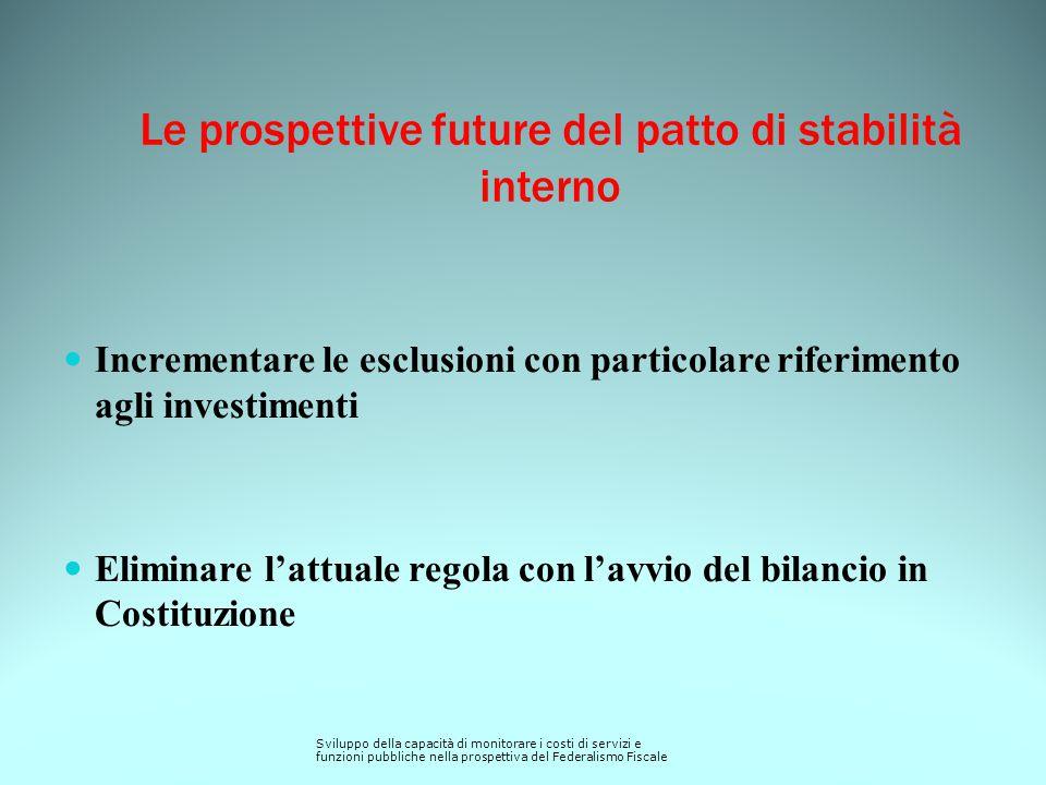 Le prospettive future del patto di stabilità interno Incrementare le esclusioni con particolare riferimento agli investimenti Eliminare l'attuale rego