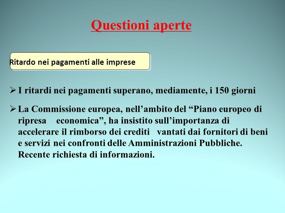 Questioni aperte Ritardo nei pagamenti alle imprese  I ritardi nei pagamenti superano, mediamente, i 150 giorni  La Commissione europea, nell'ambito