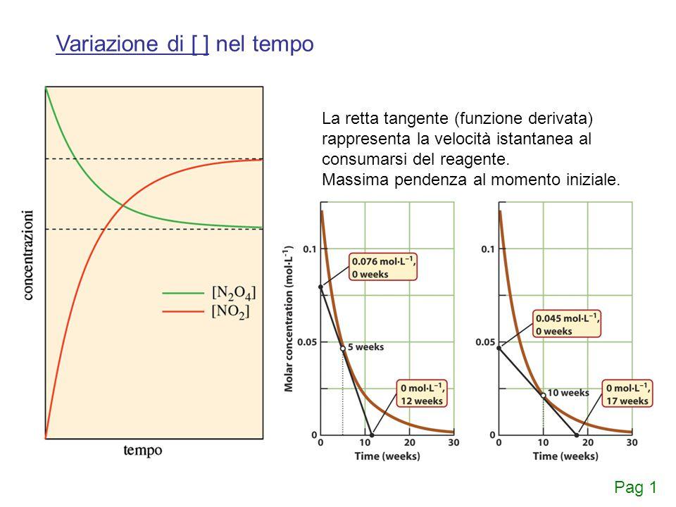 La retta tangente (funzione derivata) rappresenta la velocità istantanea al consumarsi del reagente. Massima pendenza al momento iniziale. Variazione