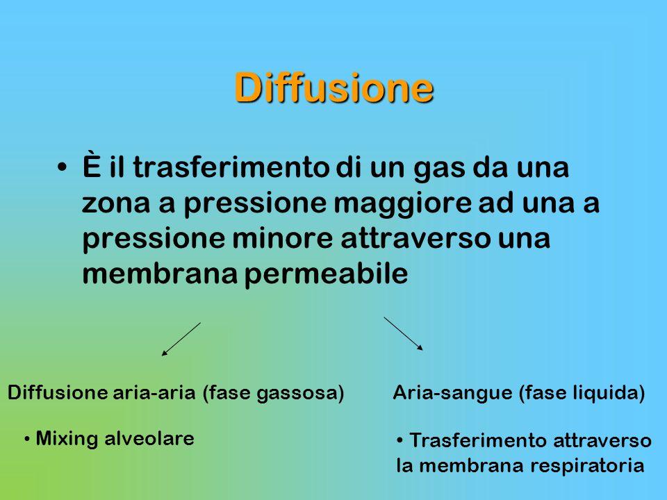 Diffusione È il trasferimento di un gas da una zona a pressione maggiore ad una a pressione minore attraverso una membrana permeabile Diffusione aria-