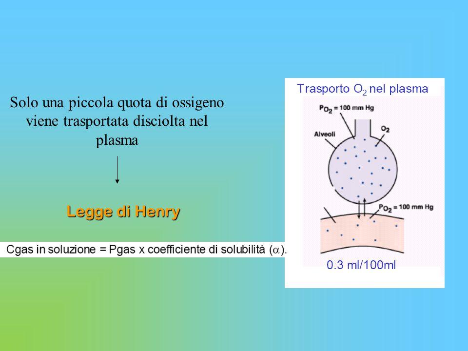 Trasporto CO2 Fisicamente disciolta (5 -7%) 0.06 ml/100 ml sangue per mmHg (secondo la legge di Henry) Legata alle proteine (legami carbaminici, 20%) Sotto forma di HCO3 - (70%) Anidrasi carbonica nei globuli rossi