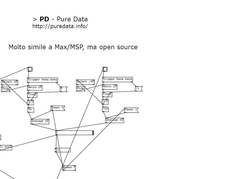 > PD - Pure Data http://puredata.info/ Molto simile a Max/MSP, ma open source
