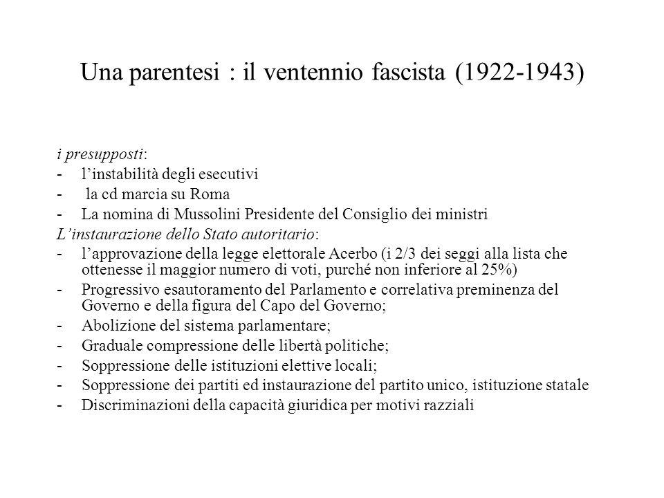 Una parentesi : il ventennio fascista (1922-1943) i presupposti: -l'instabilità degli esecutivi - la cd marcia su Roma -La nomina di Mussolini Preside