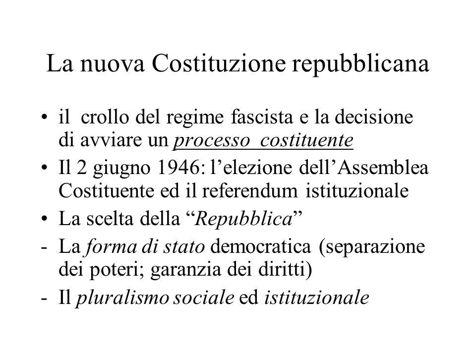 La nuova Costituzione repubblicana il crollo del regime fascista e la decisione di avviare un processo costituente Il 2 giugno 1946: l'elezione dell'A