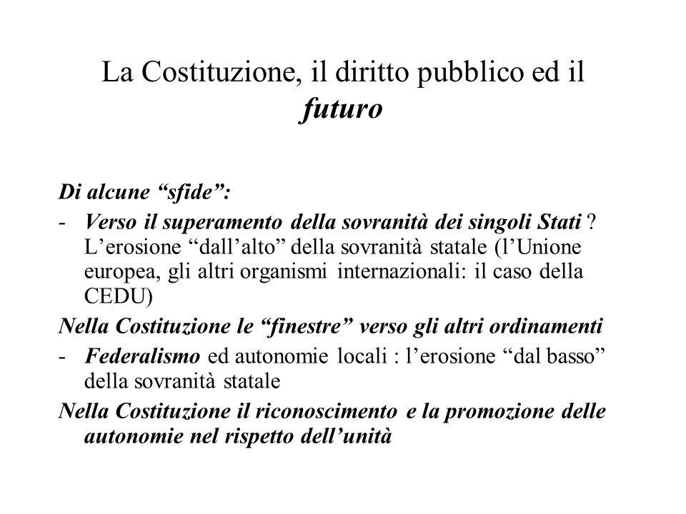 """La Costituzione, il diritto pubblico ed il futuro Di alcune """"sfide"""": -Verso il superamento della sovranità dei singoli Stati ? L'erosione """"dall'alto"""""""