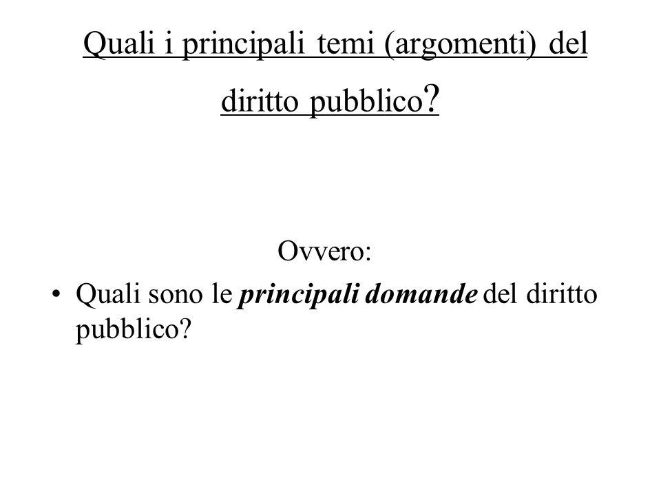 Quali i principali temi (argomenti) del diritto pubblico ? Ovvero: Quali sono le principali domande del diritto pubblico?
