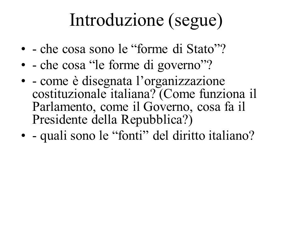 """Introduzione (segue) - che cosa sono le """"forme di Stato""""? - che cosa """"le forme di governo""""? - come è disegnata l'organizzazione costituzionale italian"""