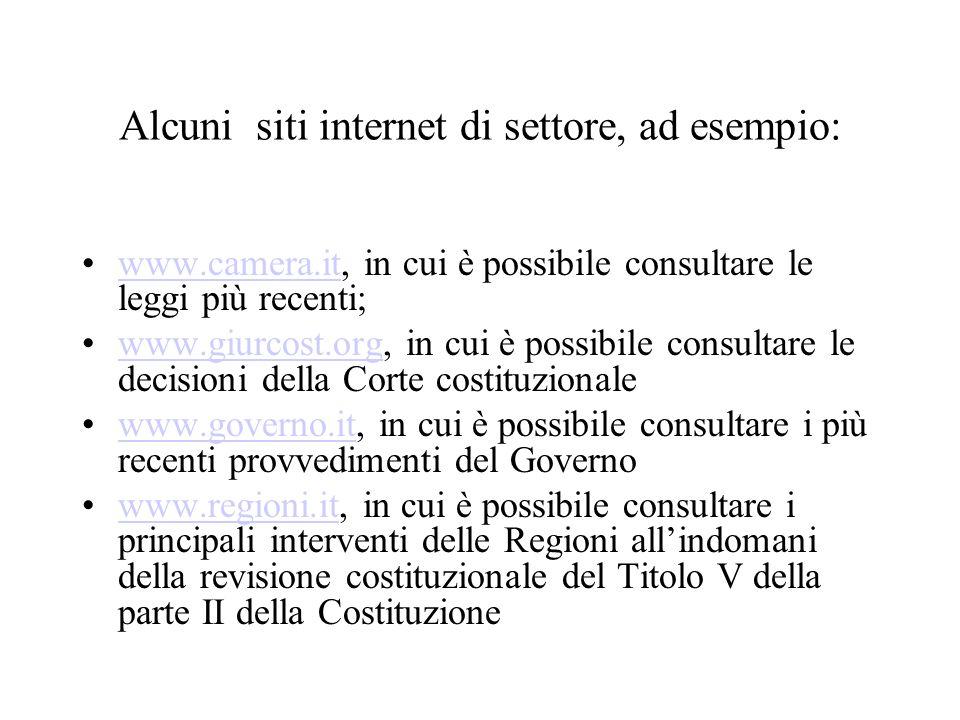 Alcuni siti internet di settore, ad esempio: www.camera.it, in cui è possibile consultare le leggi più recenti;www.camera.it www.giurcost.org, in cui