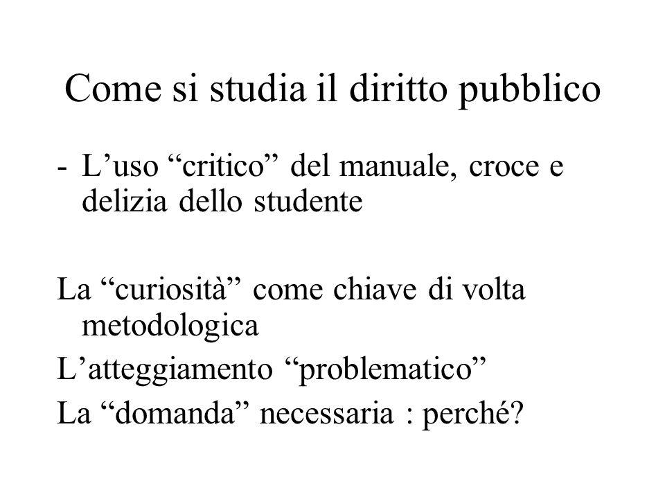 """Come si studia il diritto pubblico -L'uso """"critico"""" del manuale, croce e delizia dello studente La """"curiosità"""" come chiave di volta metodologica L'att"""