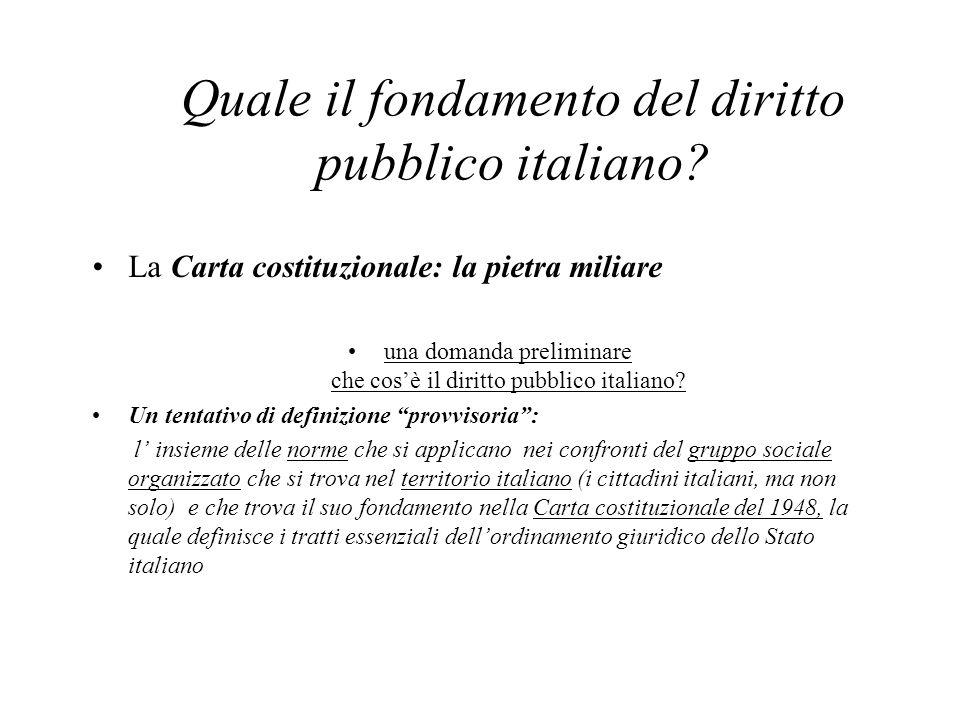 Quale il fondamento del diritto pubblico italiano? La Carta costituzionale: la pietra miliare una domanda preliminare che cos'è il diritto pubblico it