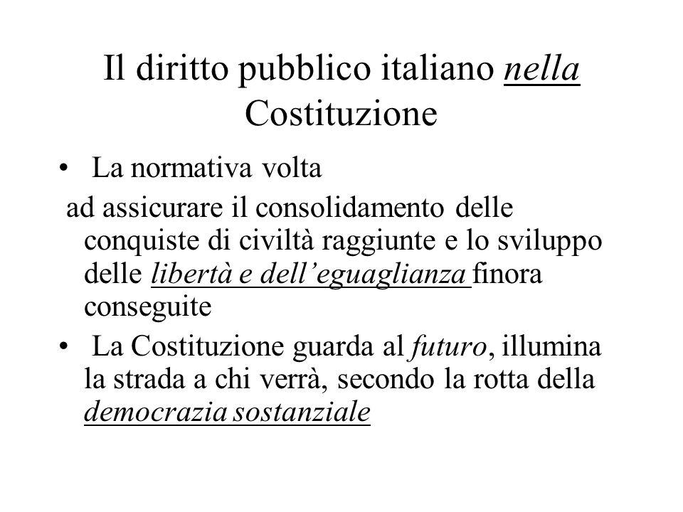 Il diritto pubblico italiano nella Costituzione La normativa volta ad assicurare il consolidamento delle conquiste di civiltà raggiunte e lo sviluppo