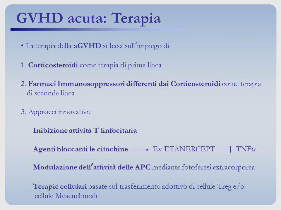 La terapia della aGVHD si basa sull'impiego di: Corticosteroidi 1. Corticosteroidi come terapia di prima linea Farmaci Immunosoppressori differenti da