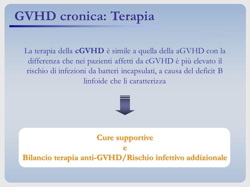 La terapia della cGVHD è simile a quella della aGVHD con la differenza che nei pazienti affetti da cGVHD è più elevato il rischio di infezioni da batt