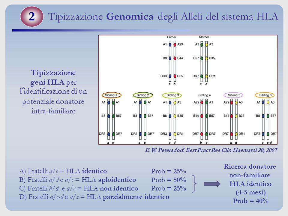 Tipizzazione geni HLA per l'identificazione di un potenziale donatore intra-familiare Ricerca donatore non-familiare HLA identico (4-5 mesi) Prob = 40
