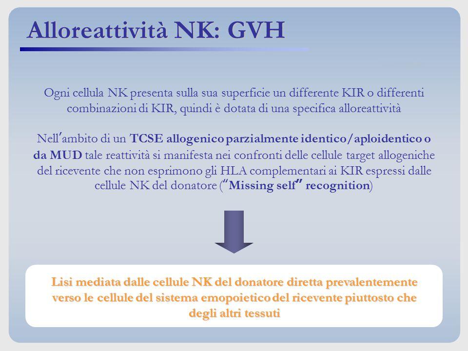 Ogni cellula NK presenta sulla sua superficie un differente KIR o differenti combinazioni di KIR, quindi è dotata di una specifica alloreattività Nell