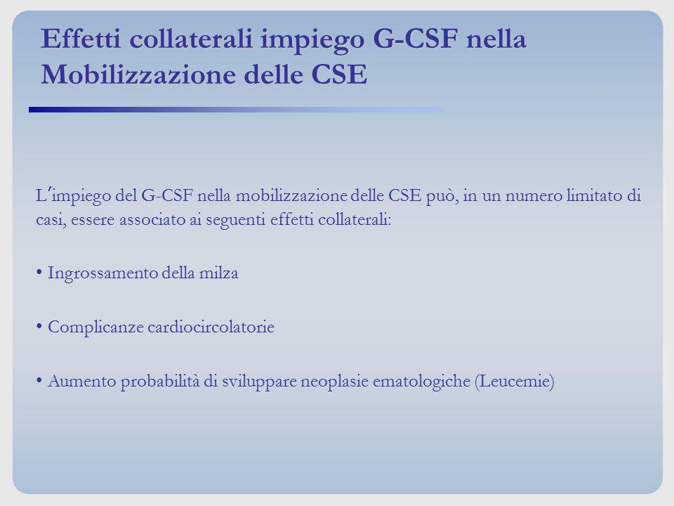 Effetti collaterali impiego G-CSF nella Mobilizzazione delle CSE L'impiego del G-CSF nella mobilizzazione delle CSE può, in un numero limitato di casi