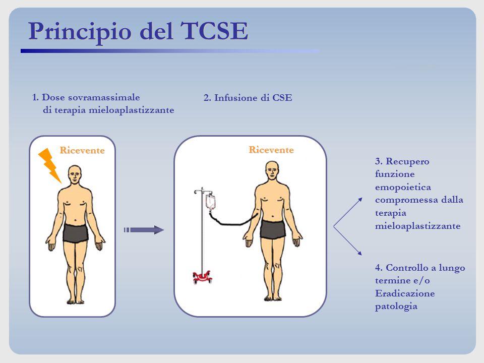 1. Dose sovramassimale di terapia mieloaplastizzante Ricevente 2. Infusione di CSE Ricevente 3. Recupero funzione emopoietica compromessa dalla terapi
