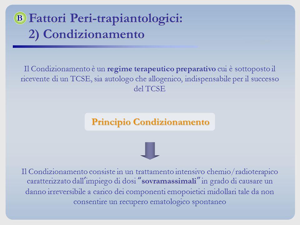 Principio Condizionamento Il Condizionamento è un regime terapeutico preparativo cui è sottoposto il ricevente di un TCSE, sia autologo che allogenico