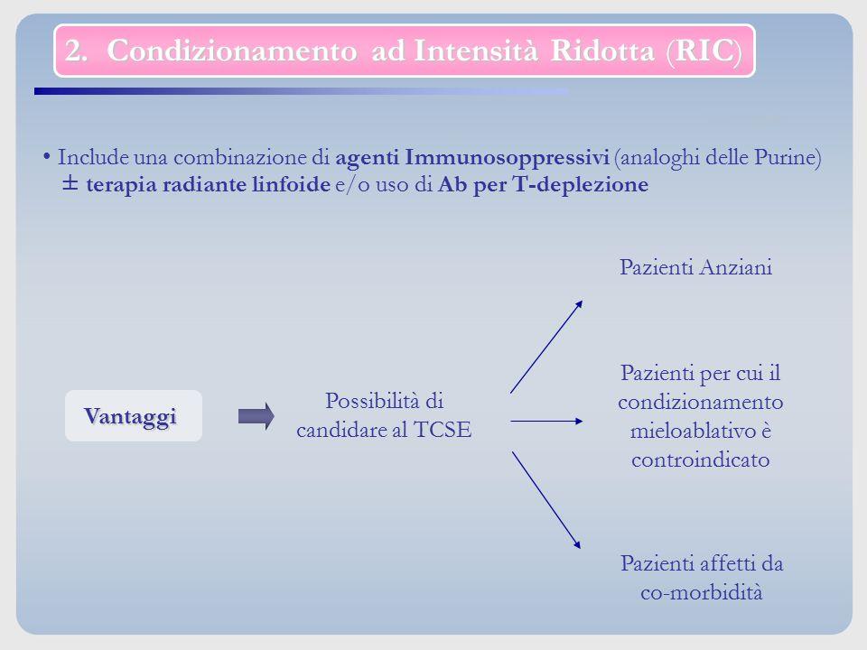2. Condizionamento ad Intensità Ridotta (RIC) Include una combinazione di agenti Immunosoppressivi (analoghi delle Purine) ± terapia radiante linfoide