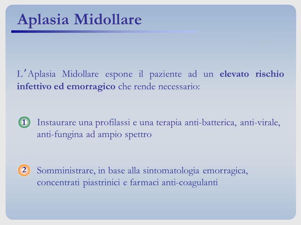L'Aplasia Midollare espone il paziente ad un elevato rischio infettivo ed emorragico che rende necessario: Instaurare una profilassi e una terapia ant