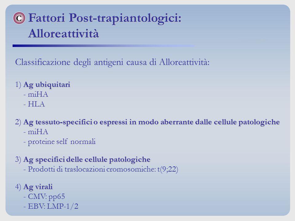Classificazione degli antigeni causa di Alloreattività: Ag ubiquitari 1) Ag ubiquitari - miHA - HLA Ag tessuto-specifici o espressi in modo aberrante